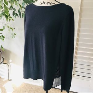 LOFT Navy Mixed Media Light Sweater